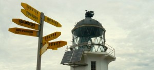 lighthouse with signs