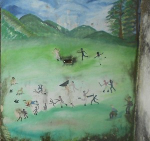 mural telling the terror that visited Mampujan