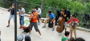 buskers in Park Guell